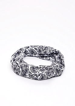 White Paisley Hair Wrap
