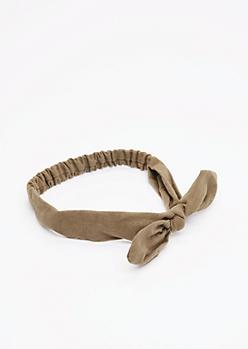Olive Bunny Ear Bow Headband