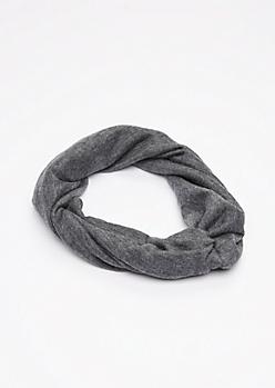 Gray Knit Hair Wrap