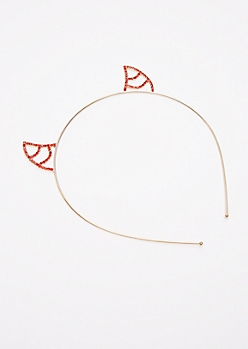 Red Stone Devil Horn Headband