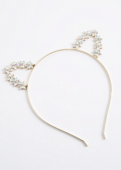Iridescent Floral Cat Ear Headband