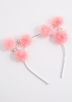 Floral Pom-Pom Cat Ear Headband