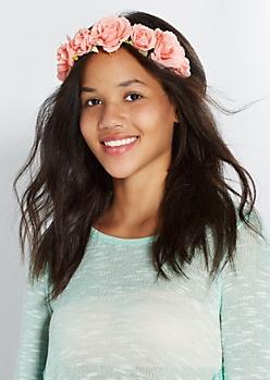 Peach Rose Flower Headband