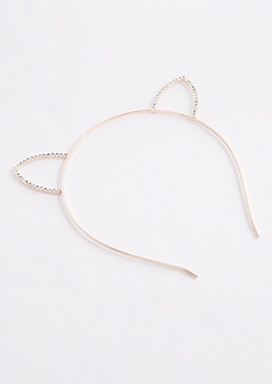 Rose Gold Stone Cat Ear Headband
