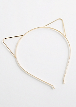 Gold Metal Cat Ear Headband