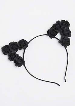 Black Floral Cat Ear Headband