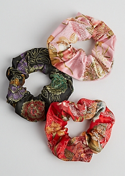 3-Pack Floral Embroidered Scrunchie Set