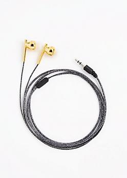 Black Glitter Earbuds
