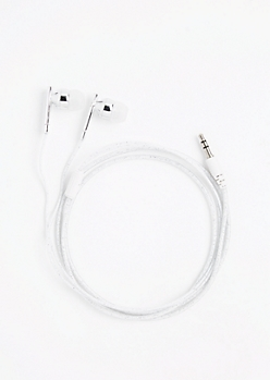 White Glitter Earbuds
