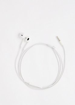 White In-Line Mic Ear Buds