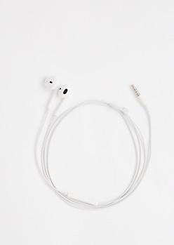 White In-Line Mic Ear Buds