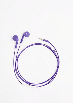 Purple In-Line Mic Ear Buds