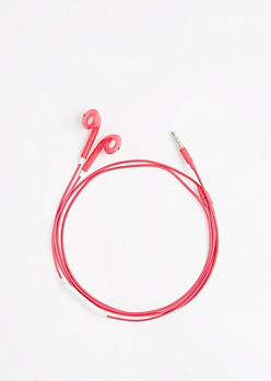 Fuchsia In-Line Mic Ear Buds
