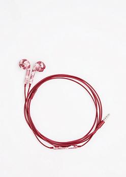 Burgundy Floral In-Line Mic Earphones