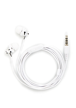 White Metallic Ear Buds