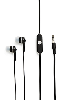 Black Solid Microphone Earbud