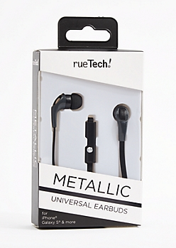 Metallic Black 10 Ft Earbuds