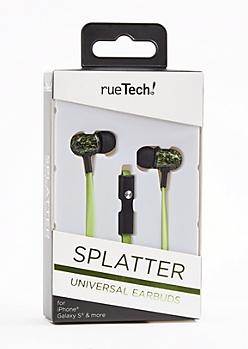 Neon Green Splatter Universal Earbuds