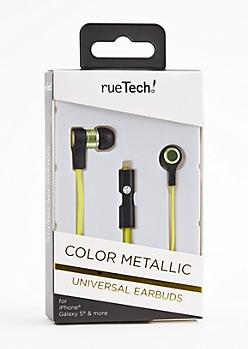 Neon Green Metallic Universal Earbuds