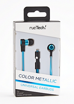 Blue Metallic Universal Earbuds