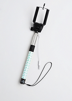 Minty Chevron Shutter Button Selfie Stick