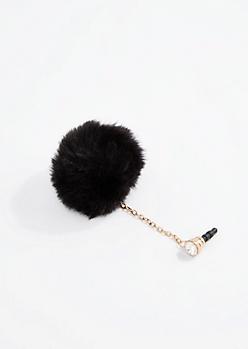 Black Pom Cell Phone Charm