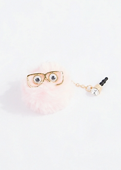 Pink Study puff Cell Phone Charm