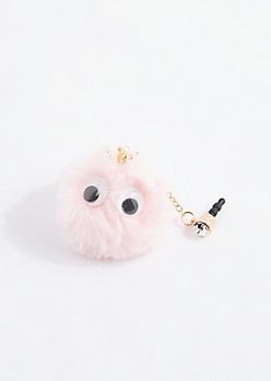 Pink Crown Puff Cell Phone Charm