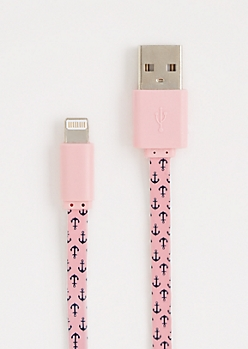 Pink Anchor Extra Long USB Data Cord