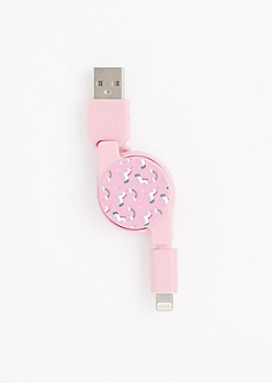 Unicorns & Rainbows Retractable USB Data Cable