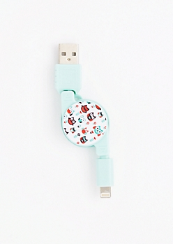 Floral Owl Retractable USB Data Cable