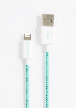 Mint Woven 3 Ft Lightning Data Cable