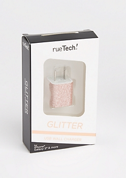 Rose Gold Glitter USB Wall Charger