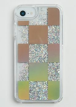 Checkered Floating Glitter Case for iPhone 6/6S/7