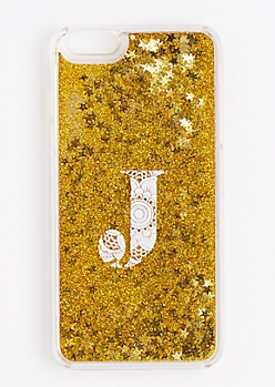 Initial J Glitter Phone Case for iPhone 6 Plus