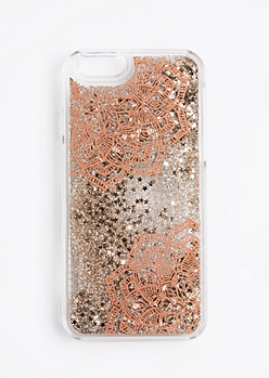 Copper Mandala Floating Sparkle Case For iPhone 6/6s