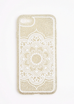 Silver Glitter Mandala Case For iPhone 7