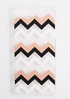 Metallic Chevron Clear Phone Case for iPhone 6 Plus/7 Plus