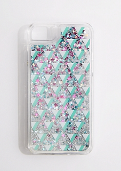 Geo Triangle Liquid Glitter Phone Case for iPhone 6/6S/7