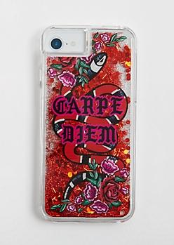 Carpe Diem Floating Glitter Case for iPhone 6/6S/7