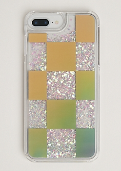 Checkered Floating Glitter Case for iPhone 6 Plus/7 Plus