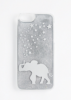 Silver Elephant Glitter Case For iPhone 6/6s