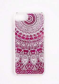 Fuchsia Glitter Dreamcatcher Case For iPhone 7