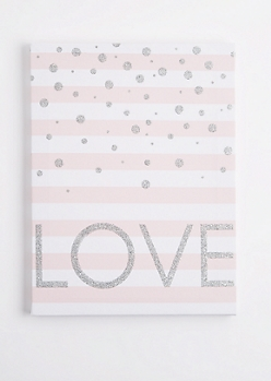 Pink Striped Love Canvas
