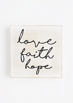 Love Faith Hope Wooden Wall Hanging