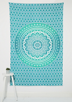 Blue Flower Mandala Wall Tapestry