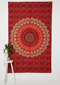 Red Medallion Mandala Wall Tapestry