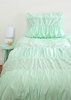 Twin - Mint Embroidered Comforter Set