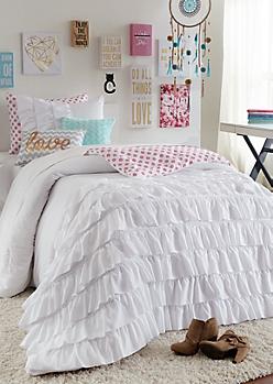Full - White Ruffled Floral Comforter Set
