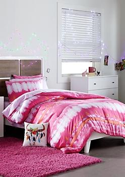 Twin XL - Pink Tie Dye 5-Piece Comforter Set